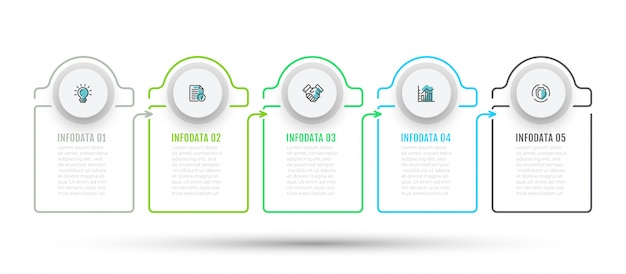 Infographic with 5 steps, options and marketing icons.