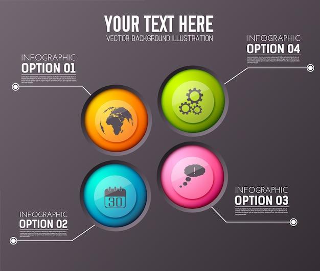 編集可能なテキストと適切な円のアイコンの4つのオプション段落を含むインフォグラフィック