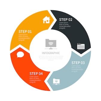 4つのステップとインフォグラフィック