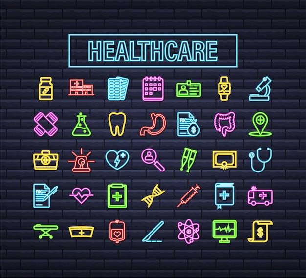 의료 디자인을 위한 의료 네온 아이콘이 있는 인포그래픽. 의료 보험. 벡터 재고 일러스트 레이 션.