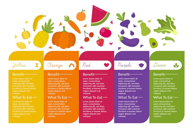 Infographic with healthy fresh food