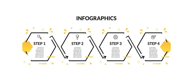 Infographic with hexagonal minimal line and 4 step or options. perfect for presentation, process diagram, workflow, and banner
