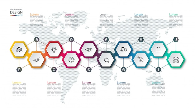 Infographic with hexagons on map
