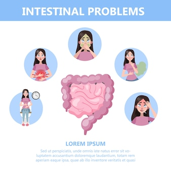 Infographic with intestine problems. woman with digestive