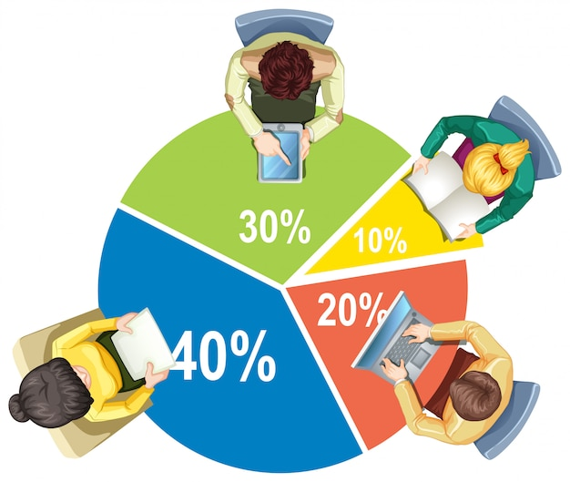 Infographic with piechart and business people