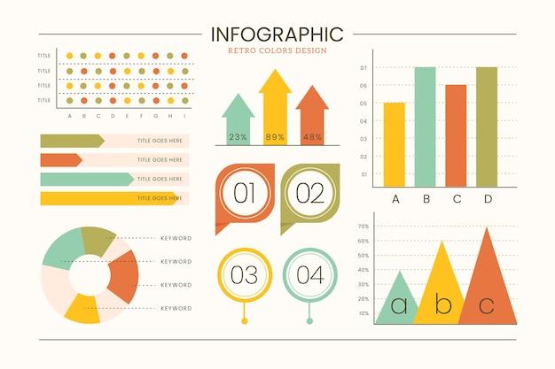 평면 디자인에 복고풍 색상 infographic