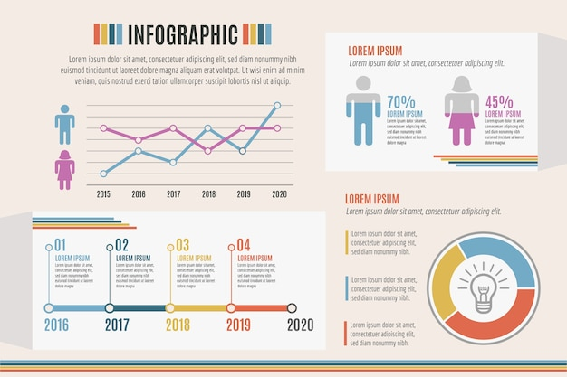Infographic with retro colors theme