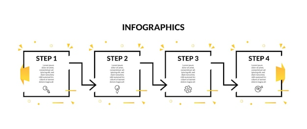 Infographic with square line geometric shape and 4 option or step. perfect for presentation, process diagram, workflow, and banner