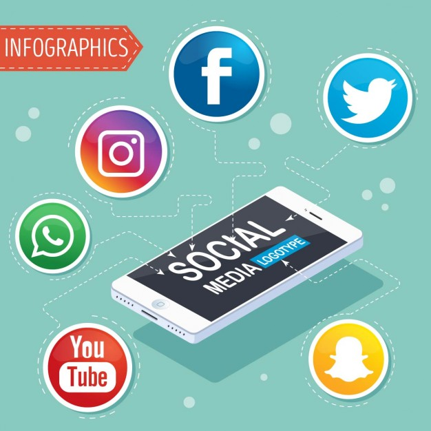 Infographic with symbols of social networks