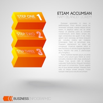 Infographic with text and orange bricks with three steps on gray
