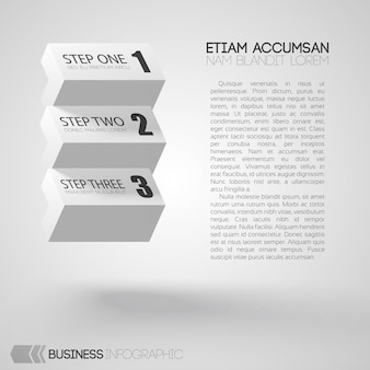 Infographic with text and white bricks with three steps on gray