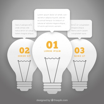 Infographic with three light bulbs in flat style
