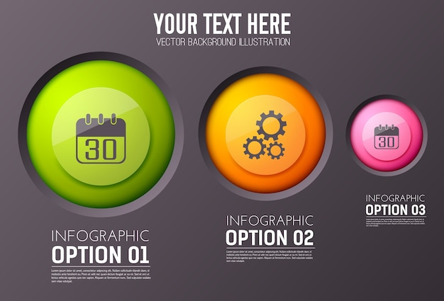 Infografica con tre paragrafi di opzioni di testo modificabile e icona circolare appropriata