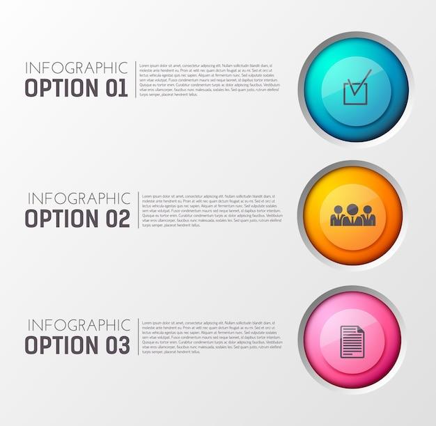 編集可能なテキストと適切な円のアイコンの3つのオプション段落を含むインフォグラフィック