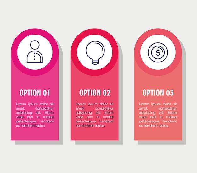 Инфографика с тремя шагами с элементами бизнеса
