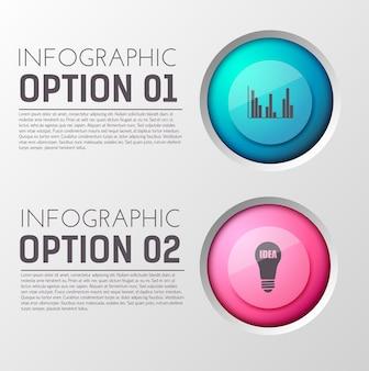 編集可能なテキストと適切な円のアイコンの2つのオプション段落を含むインフォグラフィック