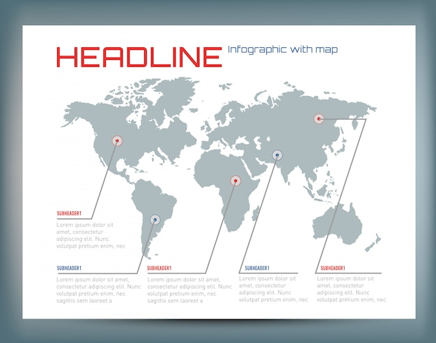 Of infographic with the world map and text.