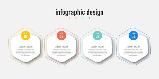 インフォグラフィックワークフローチャート番号インフォグラフィックプロセスステップチャート線アイコン情報の概念