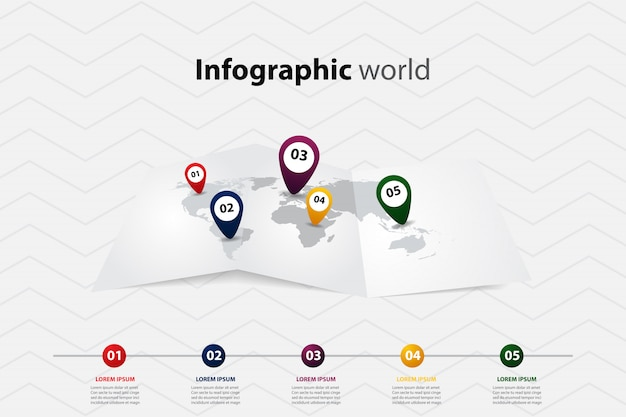Infographic world map, transport communication and information plan position