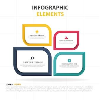 カラフルな抽象的なビジネスinfographicテンプレートの葉
