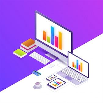 オフィスワークステーションのベクトル等角図の概念図。デスクトップコンピュータ、電話、タブレット、本、図、キーボード、ホットコーヒー、金融在庫infographic。