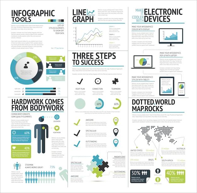 ラフな緑のアイコンがベクトルを設定infographic要素の大きなセット