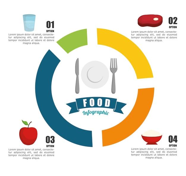健康的な食品のアイコンデザインとinfographic概念