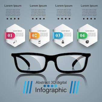 メガネのアイコン。抽象的なイラストレーションinfographic。