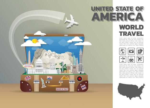 Багаж infographic перемещения и путешествия ориентир ориентира соединенных штатов америки глобальный. дизайн шаблона. / иллюстрация. распечатать