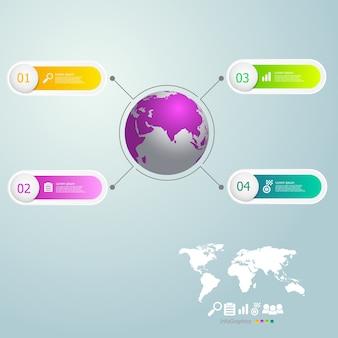 インフォグラフィックス世界地図と4ステップ