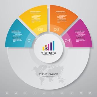 シンプルで編集可能なプロセスチャートのinfographics要素の4つのステップ。