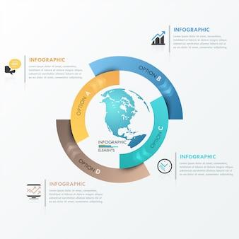 最新のinfographics 4つのオプションのためのグローバルテンプレート
