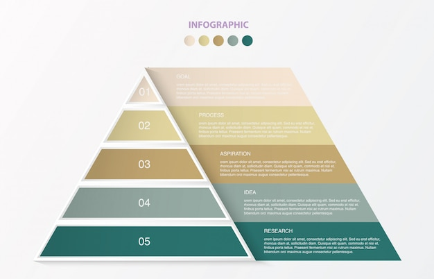 Infographics 5 steps of pyramid triangle.