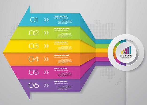 矢印のinfographicsテンプレートの6つのステップ。