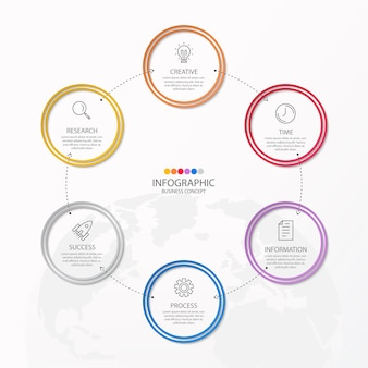 Infographics 7 element of circles and basic colors for present business concept