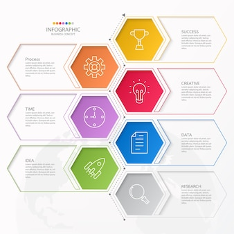 Infographics 7 element of circles and basic colors for present business concept.