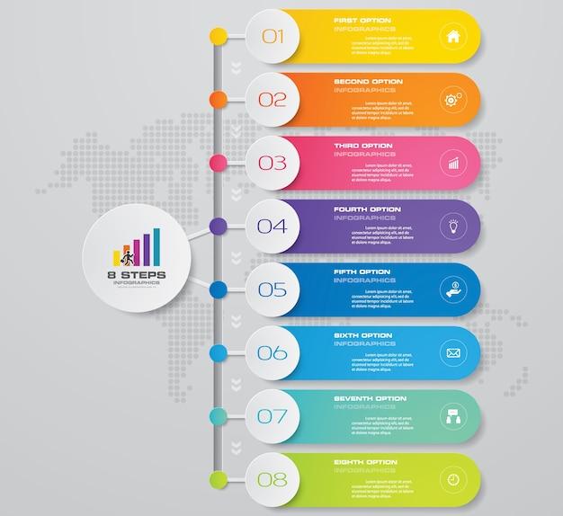 シンプルで編集可能なプロセスチャートのinfographics要素の8つのステップ。