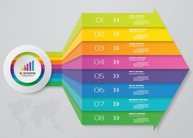 矢印のinfographicsテンプレートの8つのステップ。