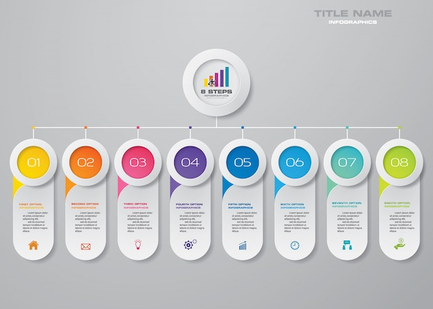 Infographics要素の8つのステップチャート