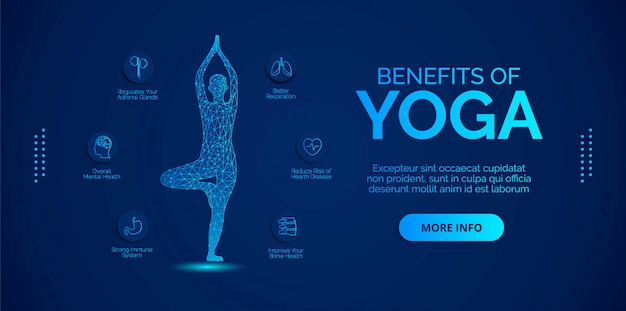 Infographics about benefits of yoga. design s for banners, backgrounds, posters or cards.