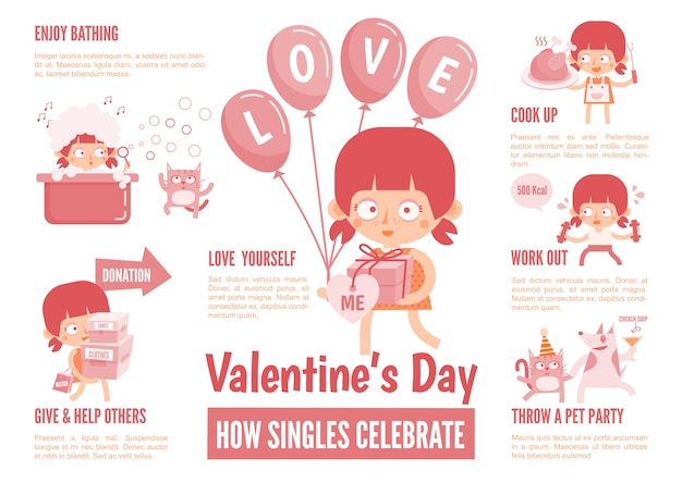 Infographics about singles celebrate valentine's day