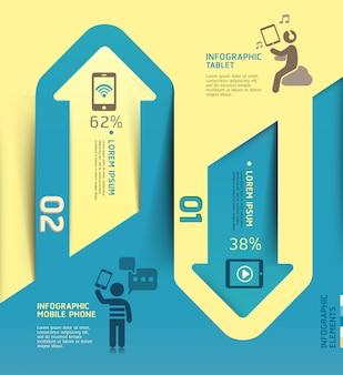 Infographics arrow communication technology template.