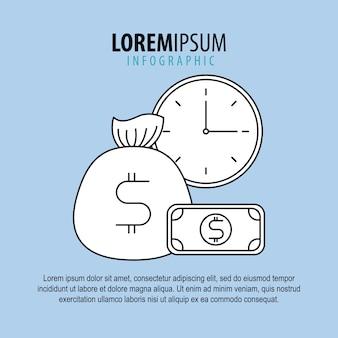 인포 그래픽 가방 돈 지폐와 시계 시간