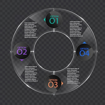 Infographics banner template in glass or glossy style,business concept with 4 options, vector format