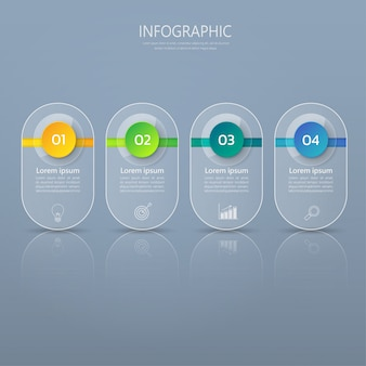 Infographics banner template in glass or glossy style.