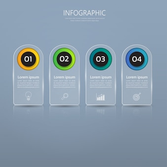Infographics banner template in glass or glossy style