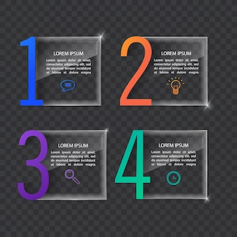 Infographics banner template in glass or glossy stylebusiness concept with 4 options