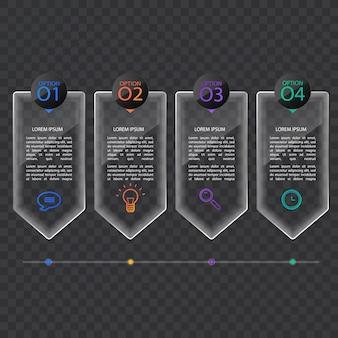 Шаблон баннера инфографики в стекле или глянцевом стиле, бизнес-концепция с 4 вариантами, векторный формат