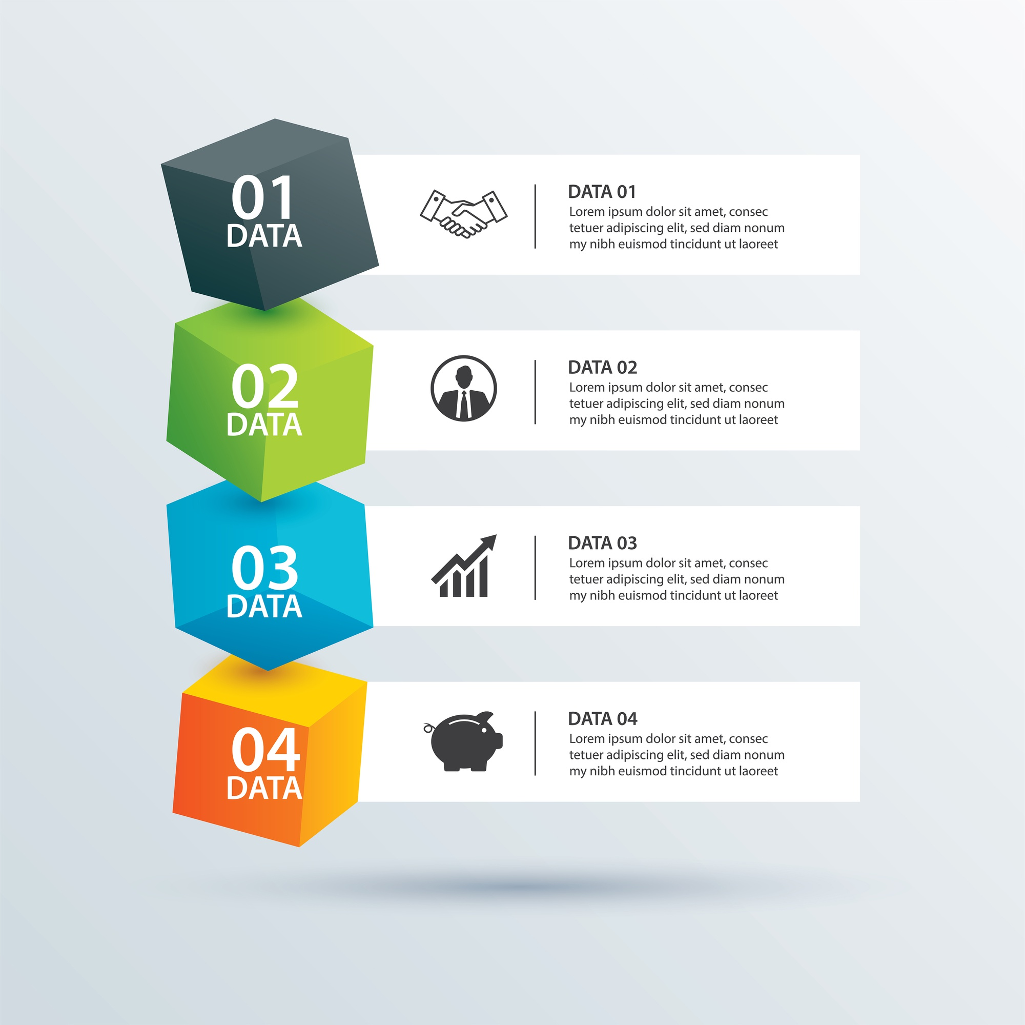 Infographics box square with 4 paper data template.