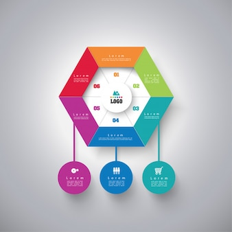 Infographics  business concept with 6 options.